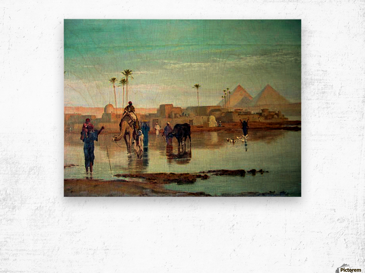 Crossing the river with the camels Wood print