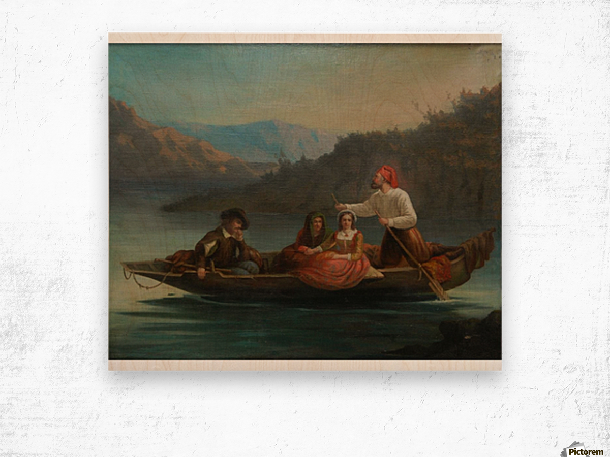 Crossing the river with a boat Wood print