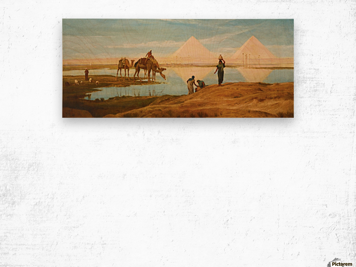 People and camels by the pyramids Wood print