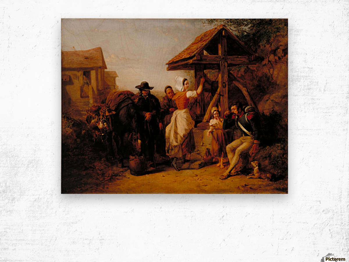 The Tired Soldier Resting at a Roadside Well Wood print