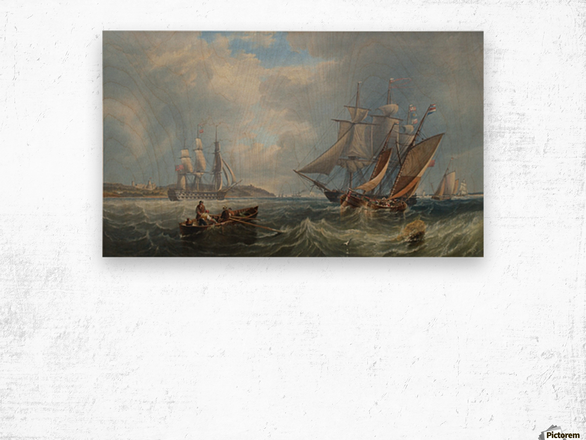 Boats by the sea Wood print