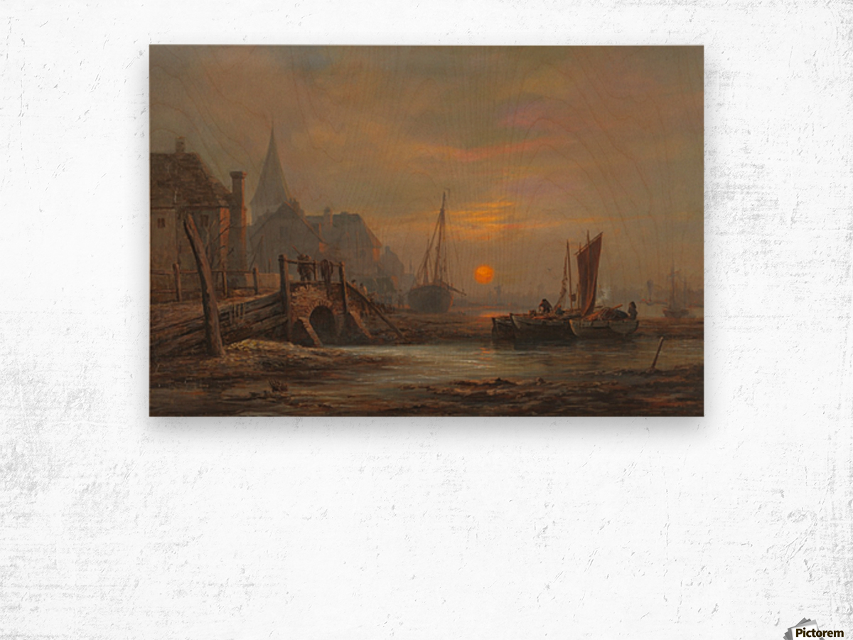 Sunset in a port Wood print