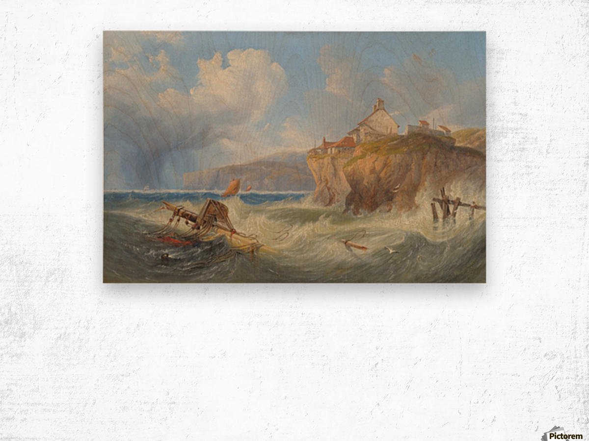 Landscape with a house by the sea Wood print