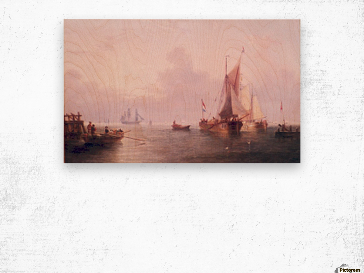 Shipping off a Dutch Port Wood print