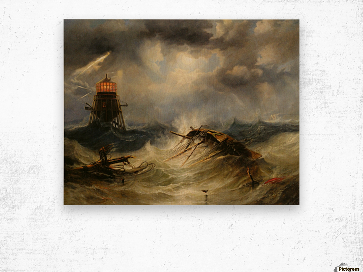 A stormy day on the sea and the lighthouse Wood print