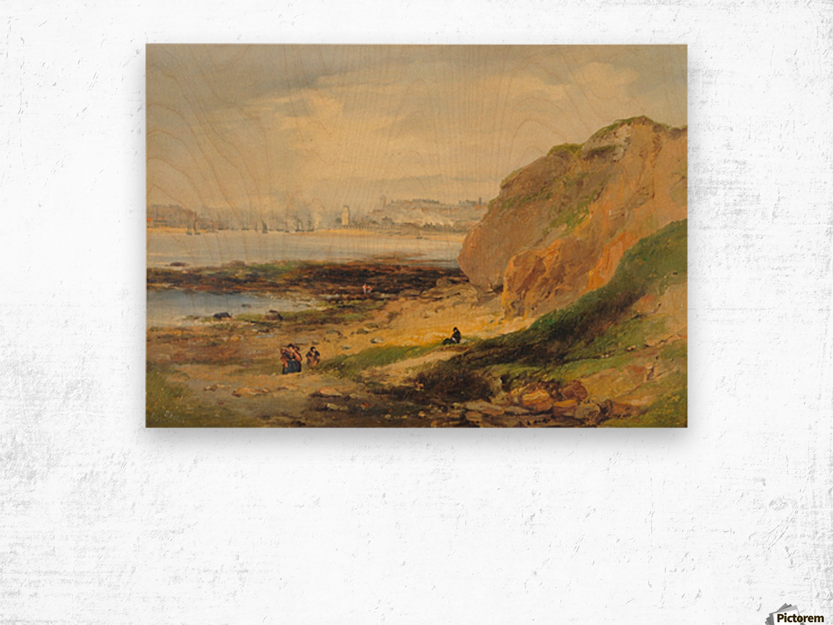 Landscape with boats near a distant city Wood print