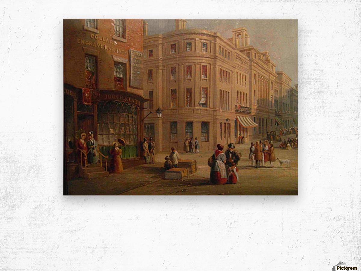 People talking in the street Wood print