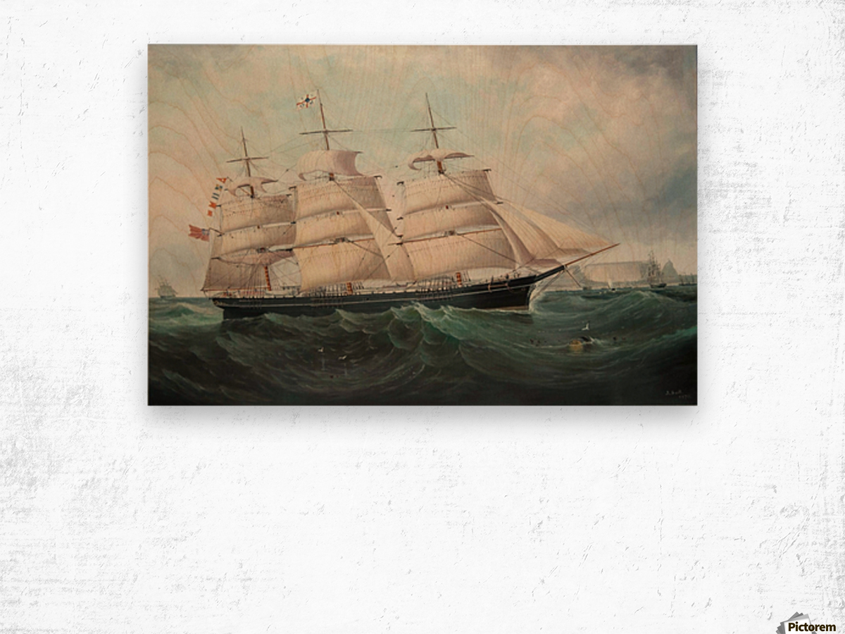A large boat by the sea Wood print