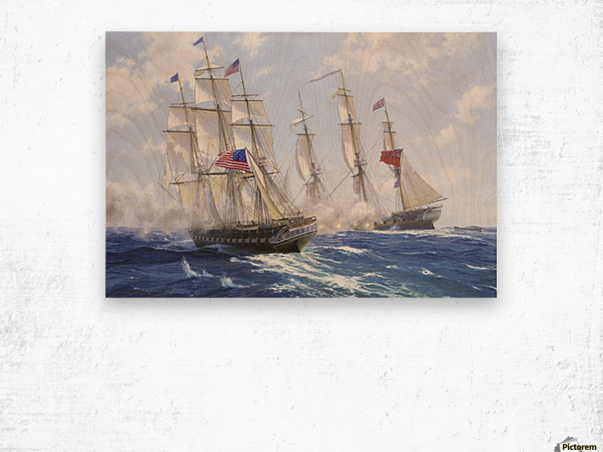 American boats by the sea Wood print