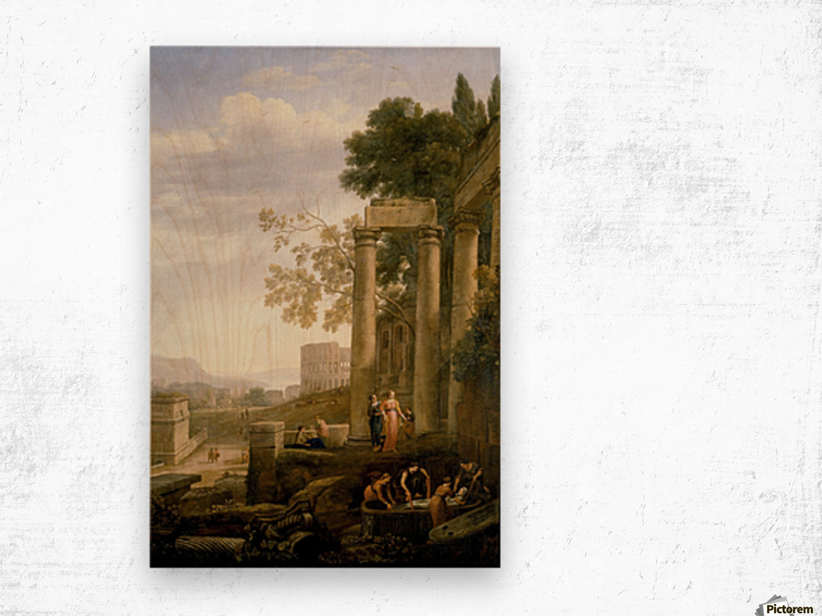 Landscape with Burial of St. Serapia Wood print
