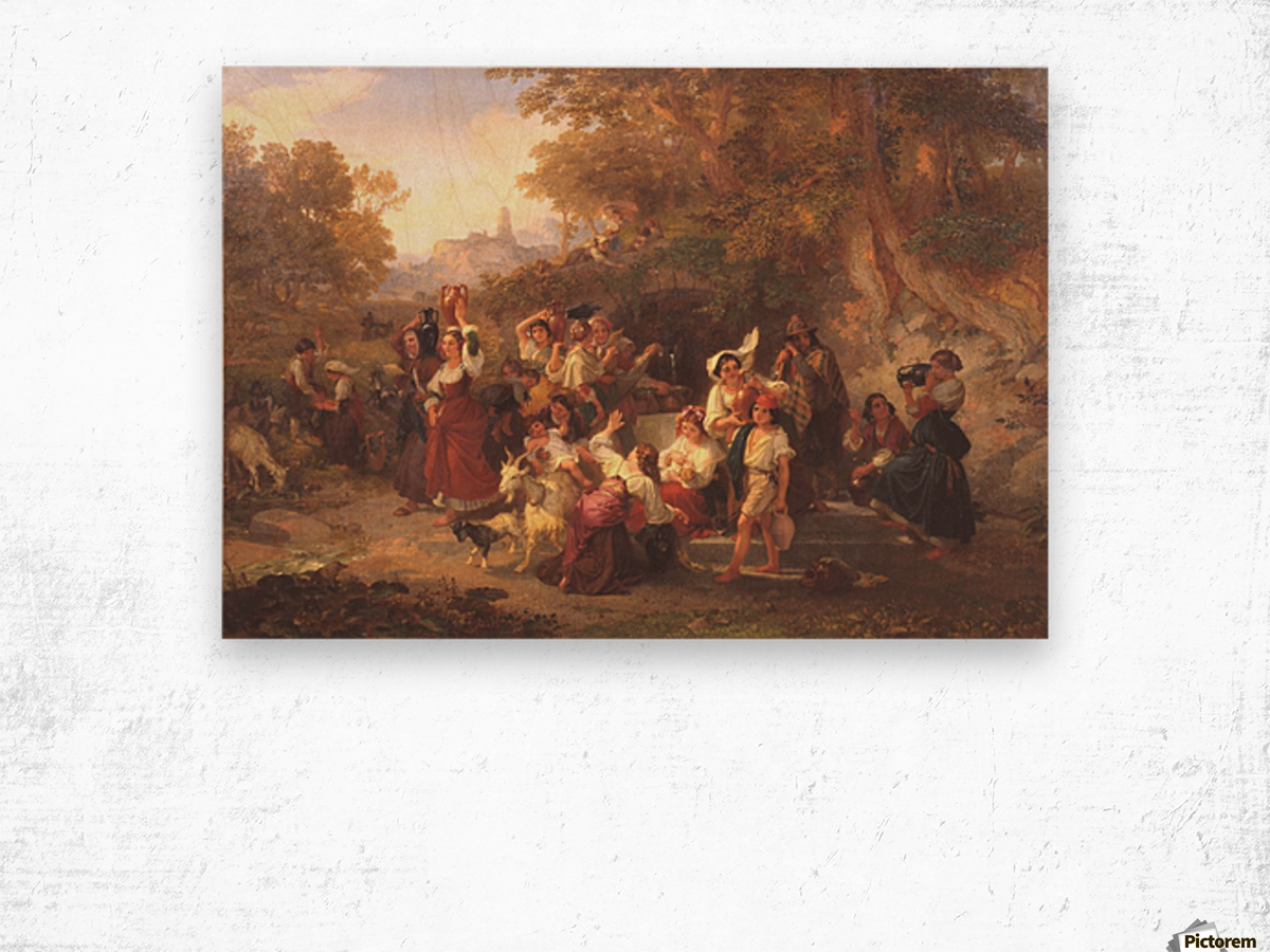 Neapolitan Peasants at a Fountain 1859 Wood print