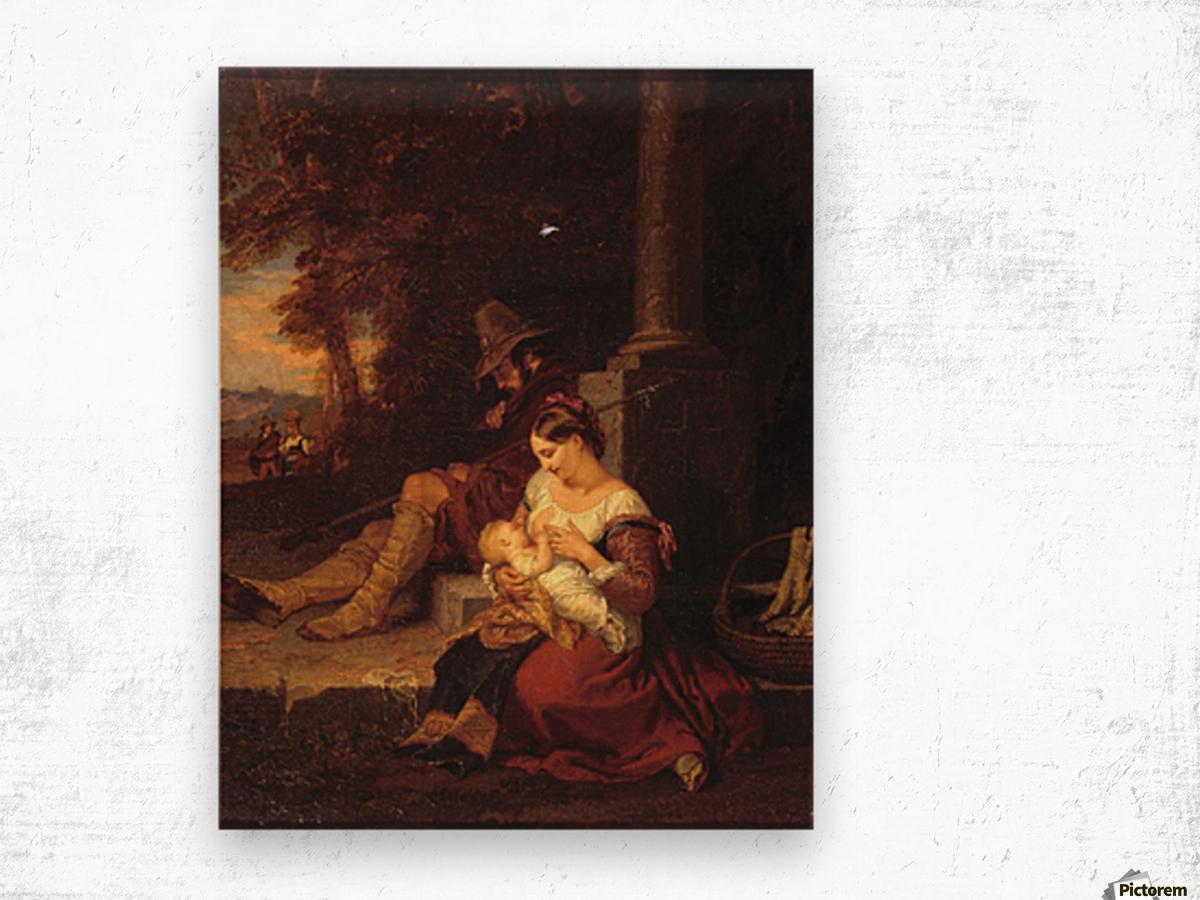 Pilgrims Reposing at a Cross Wood print