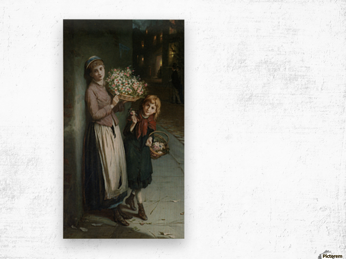 Two girls selling flowers Wood print
