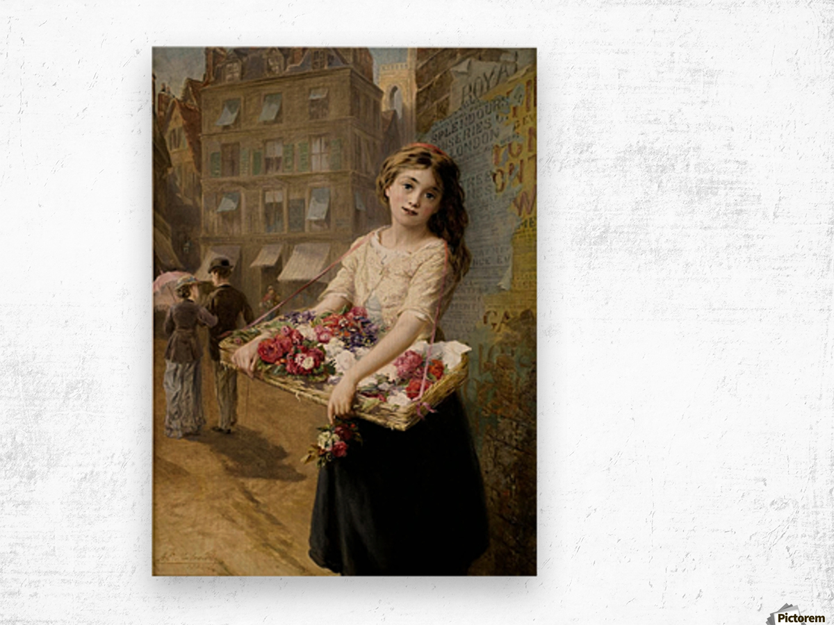A girl selling roses Wood print