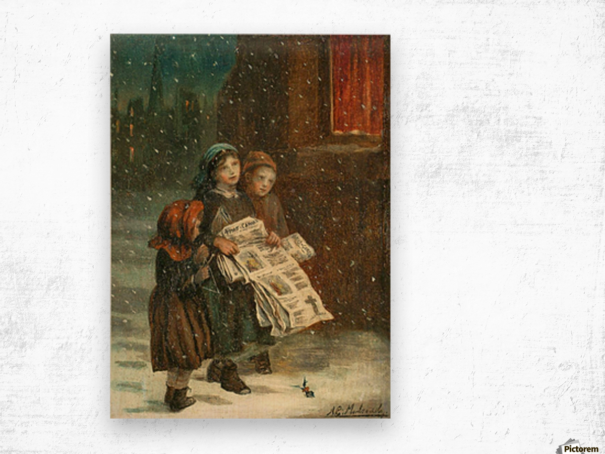 Small children with newspapers Wood print