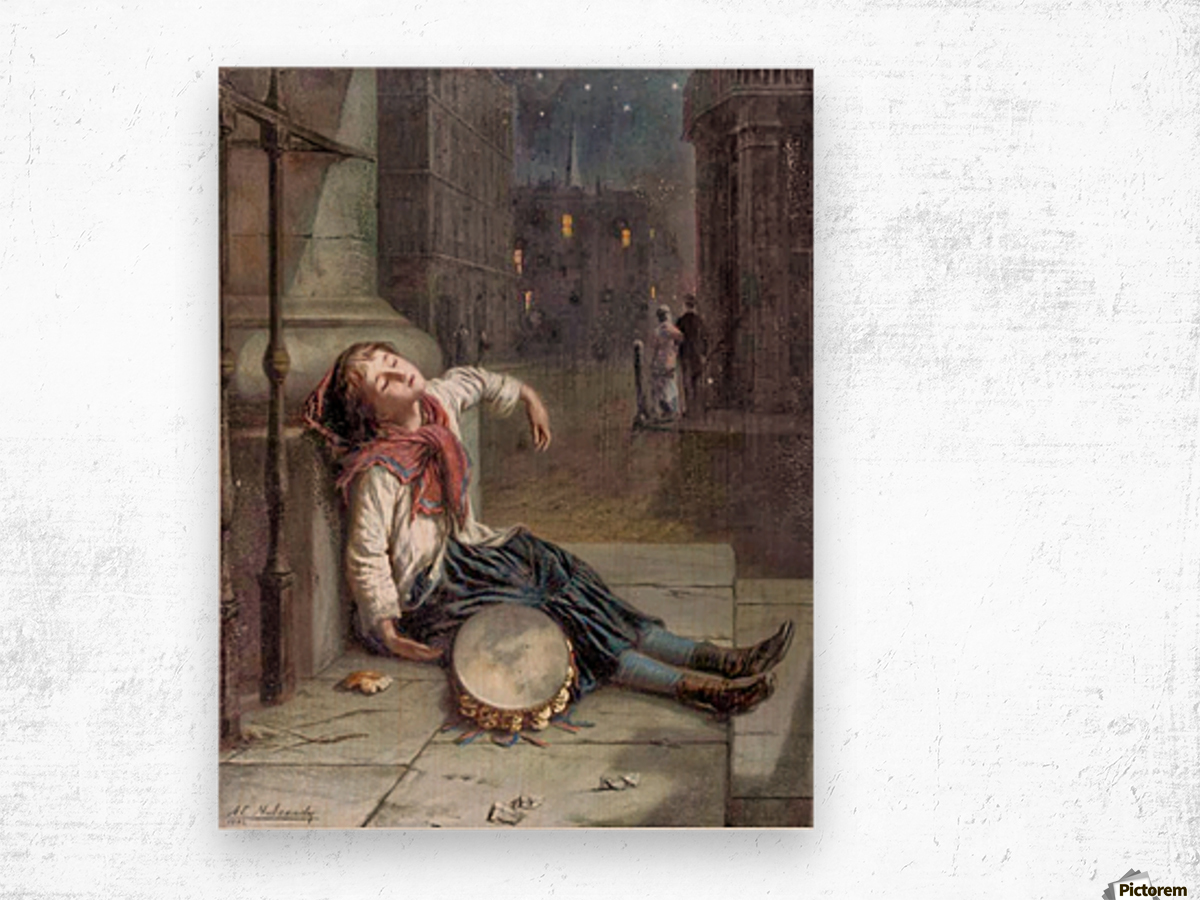A child sleeping in the moonlight Wood print