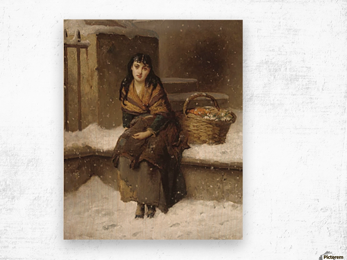 A woman in the snow with a grocery basket Wood print