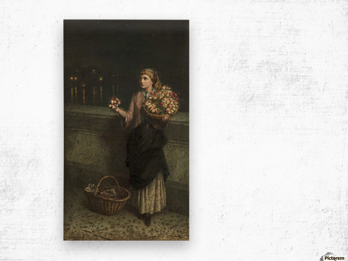 Selling flowers on a bridge in the night time Wood print