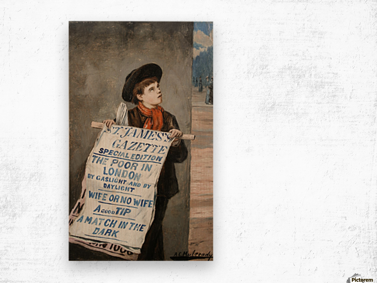 A small boy advertising the news Wood print