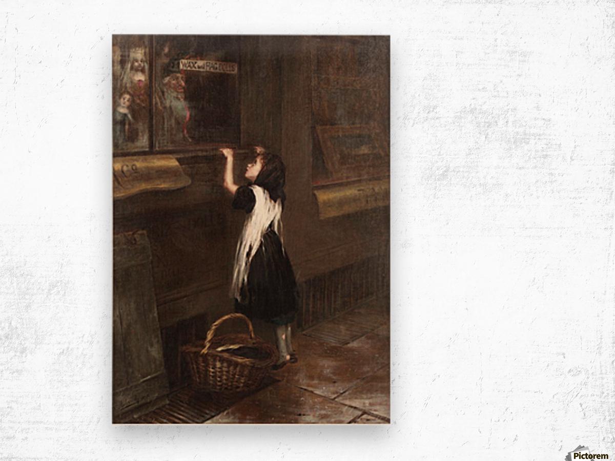 A girl in a black dress Wood print