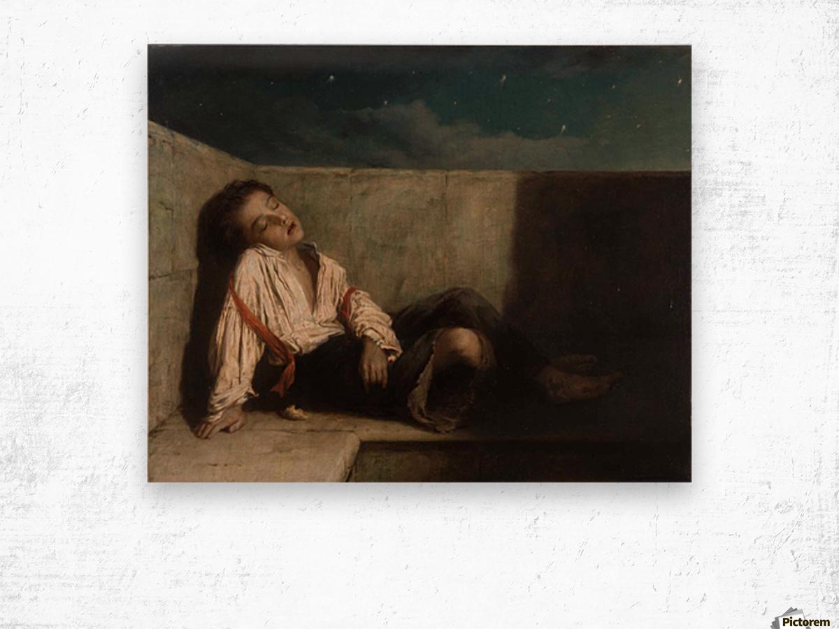 A boy sleeping on the London bridge Wood print