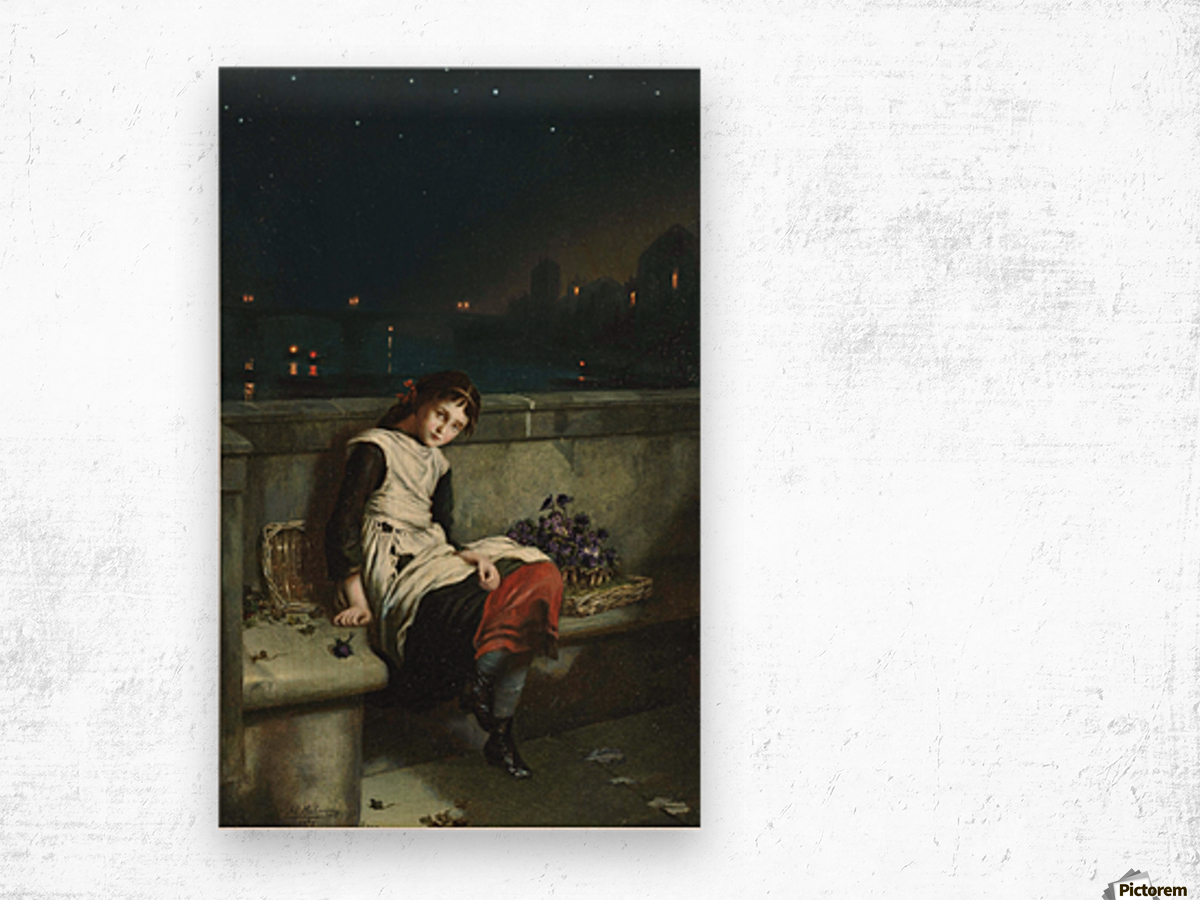 A girl selling purple flowers on a bridge Wood print