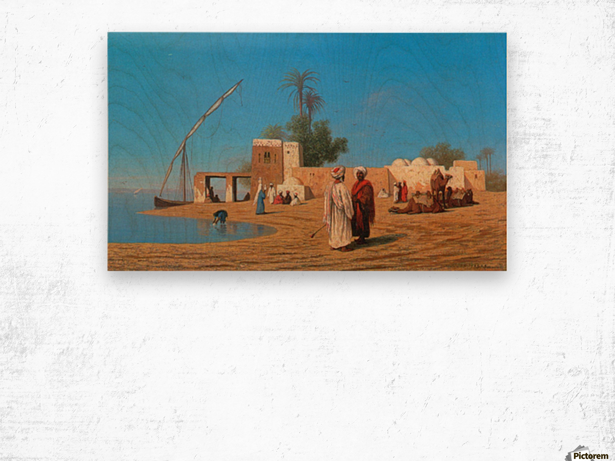 A Village on the Shores of the Nile Wood print