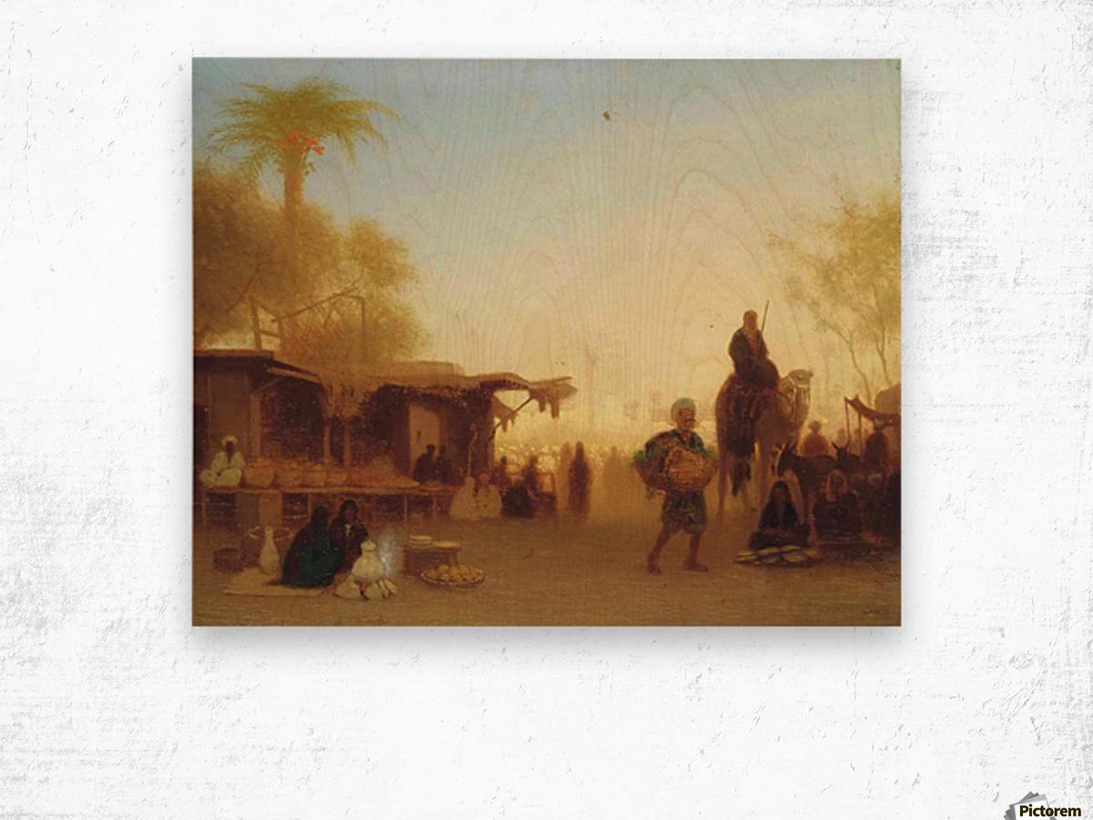 A Cairo bazaar at dusk Wood print