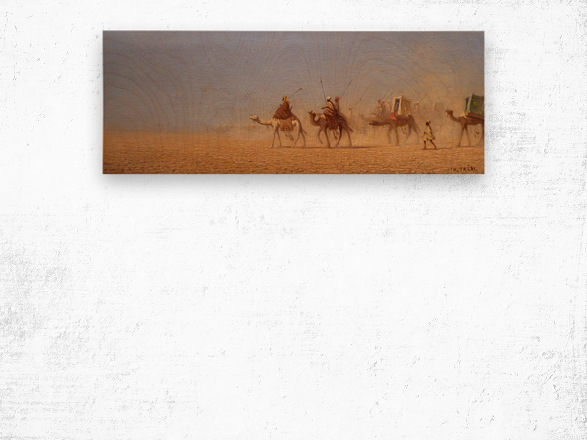 Caravanes traversant le desert Wood print