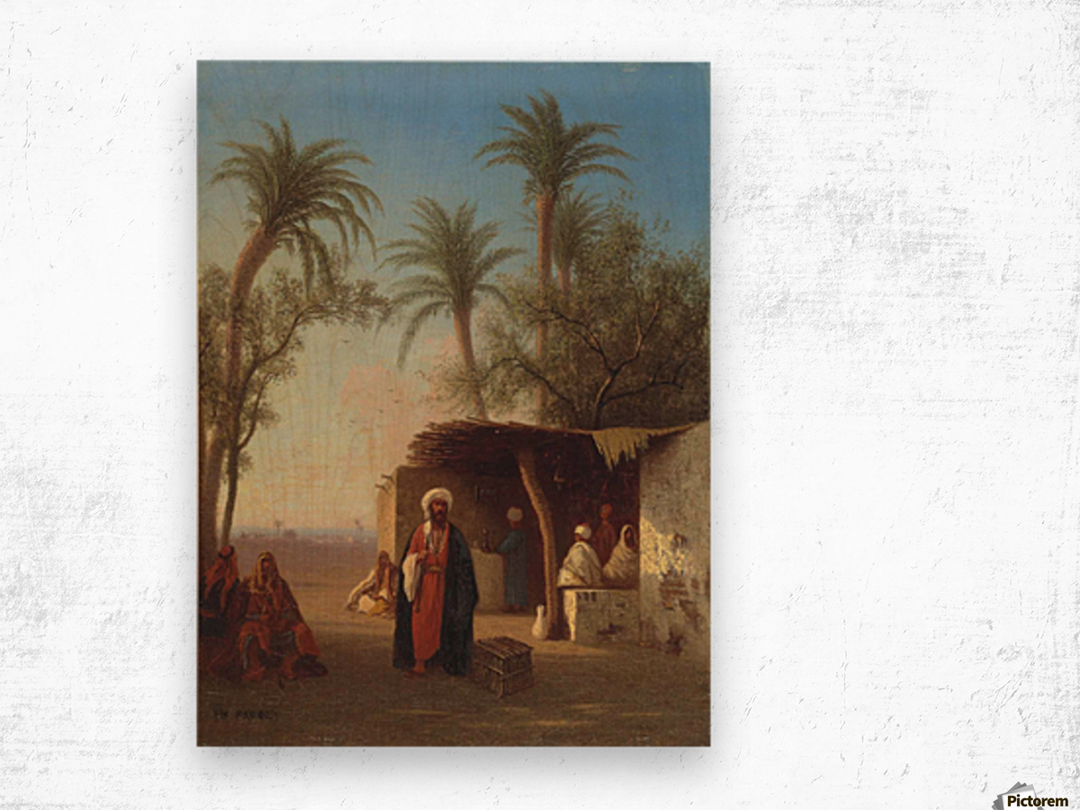 Arab encampment in an oasis nearby Wood print