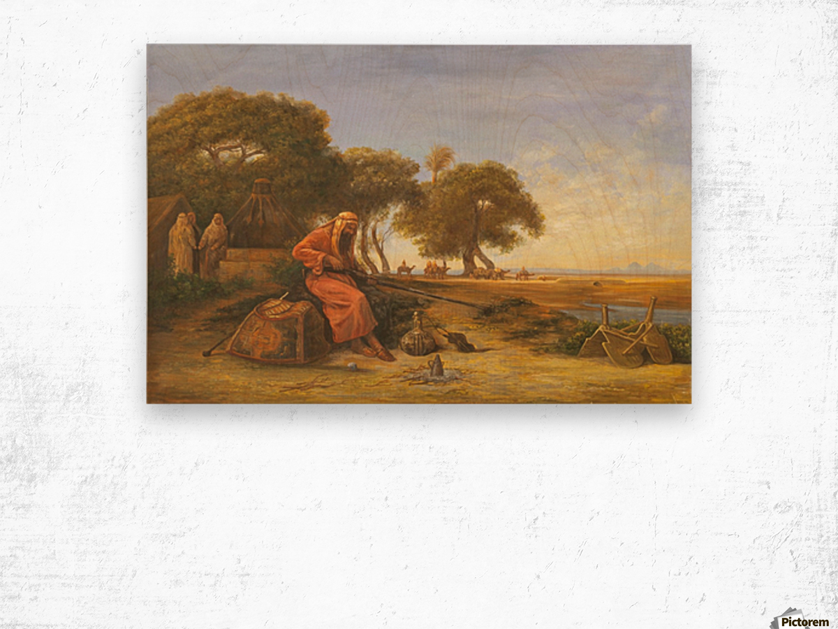 Arab encampment with trees in the back Wood print
