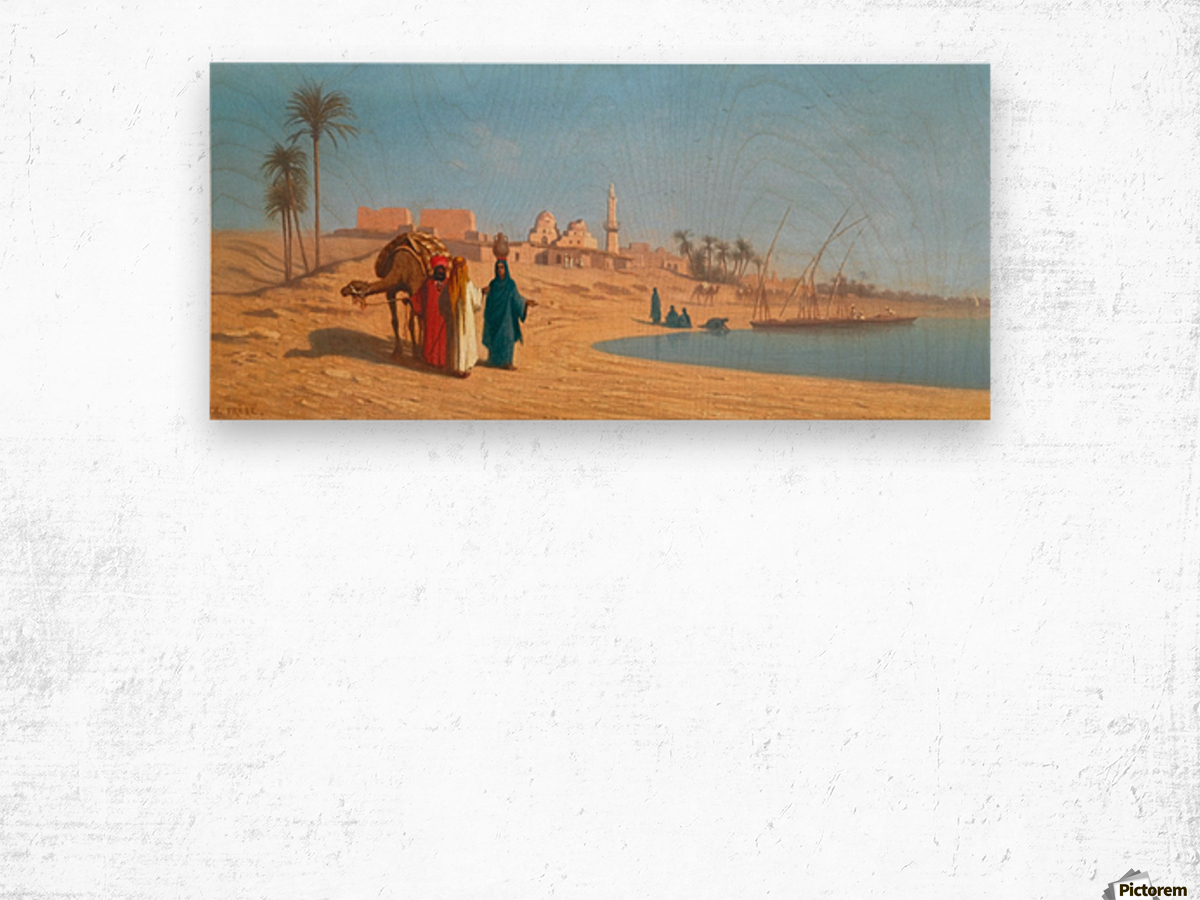 Conversation on the banks of the Nile Wood print