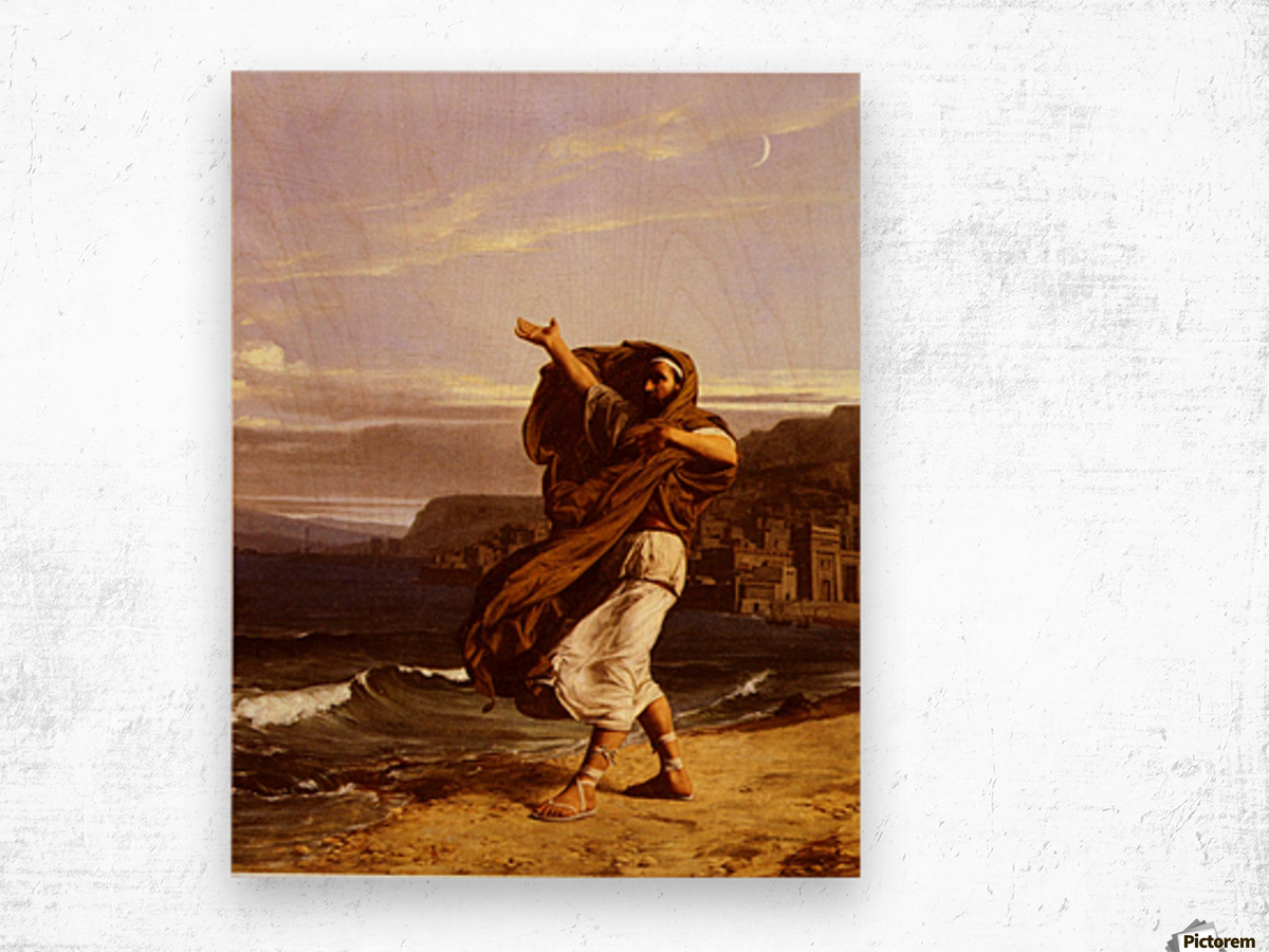 A young man in the wind Wood print