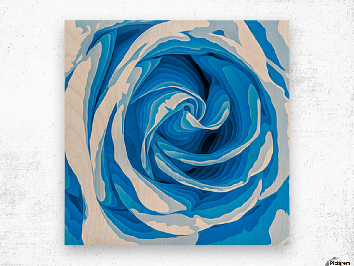 closeup blue rose texture abstract background Wood print