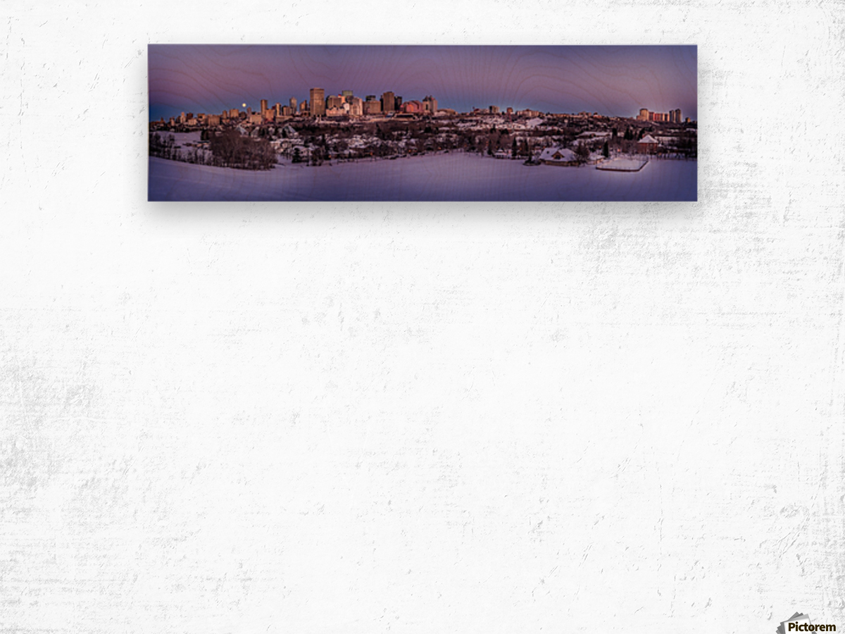 Panoramic City Landscape Wood print