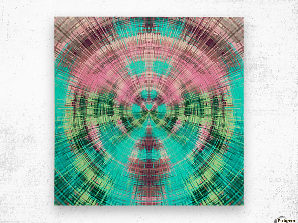 geometric pink blue and green circle plaid pattern abstract background Wood print