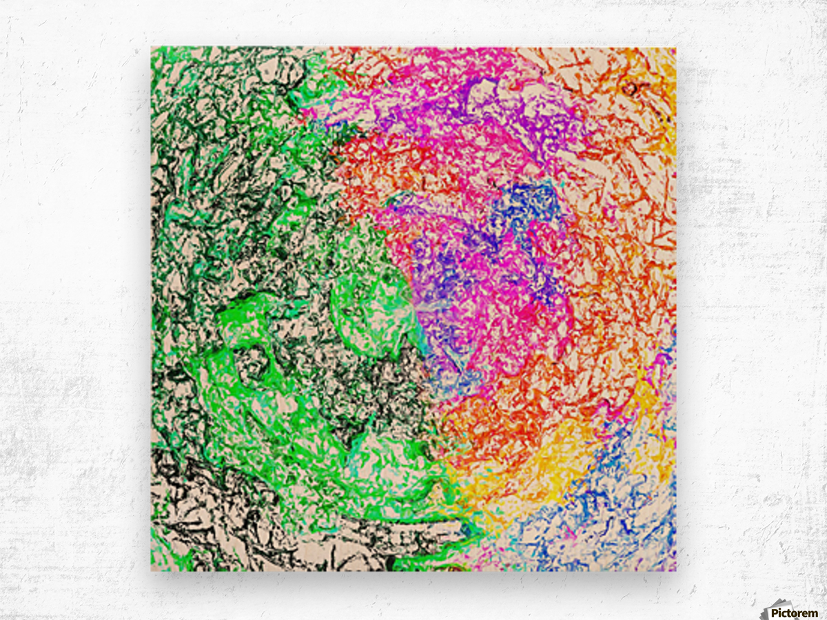 psychedelic splash painting abstract in pink purple green blue orange and yellow Wood print