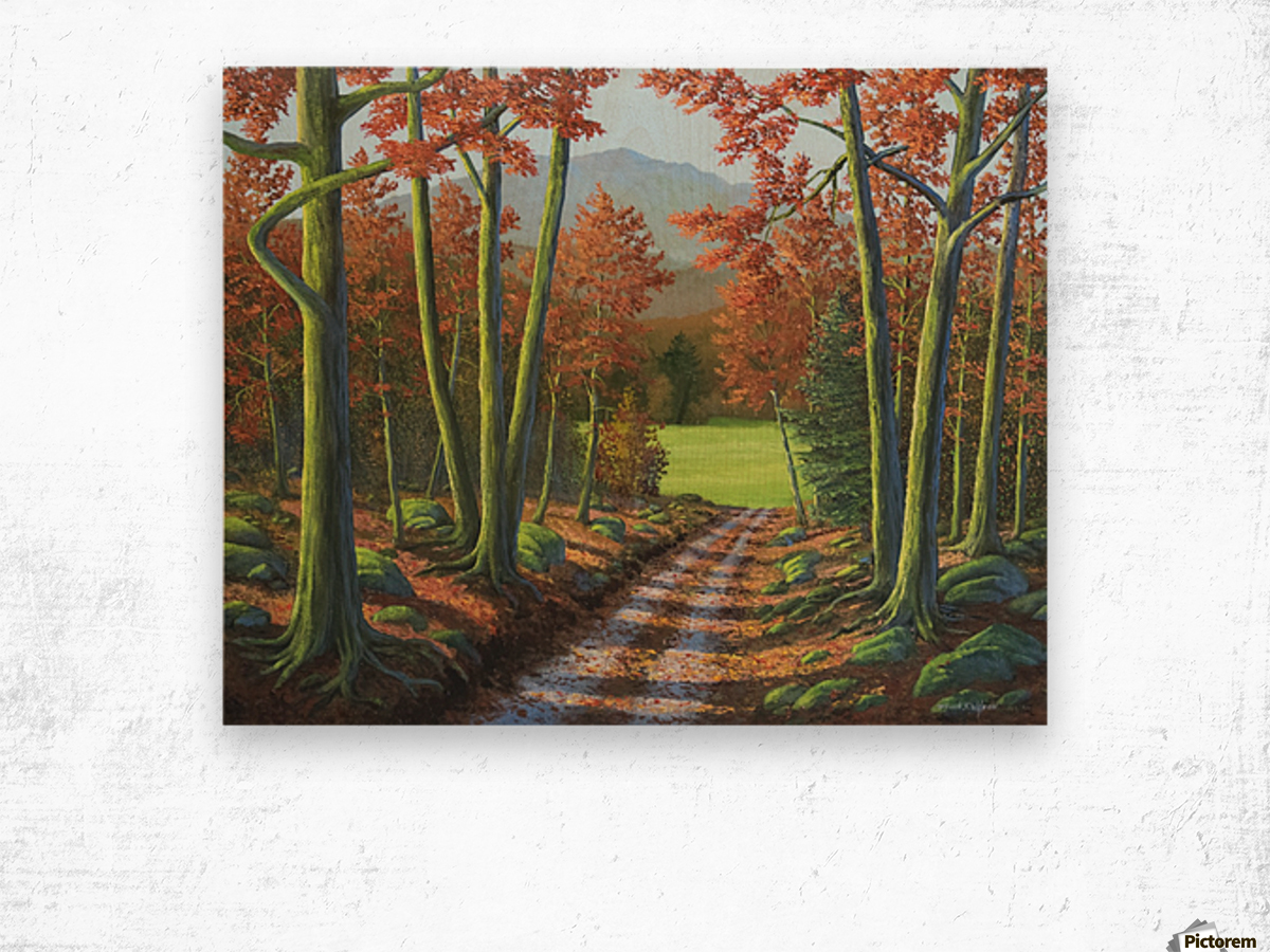 Maple Forest Road Wood print
