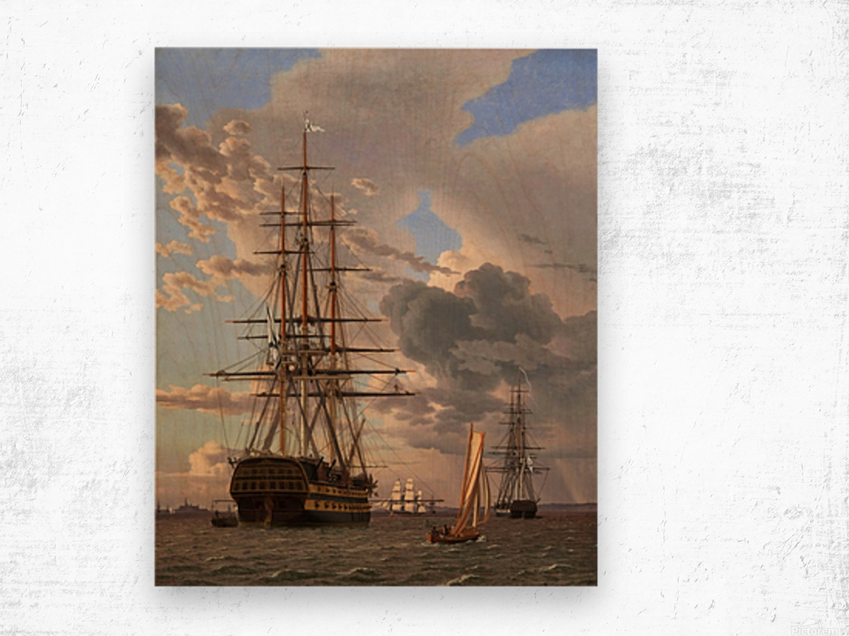A Russian ship of the Line Asow and a Frigate at Anchor in the Roads of Elsinore Wood print