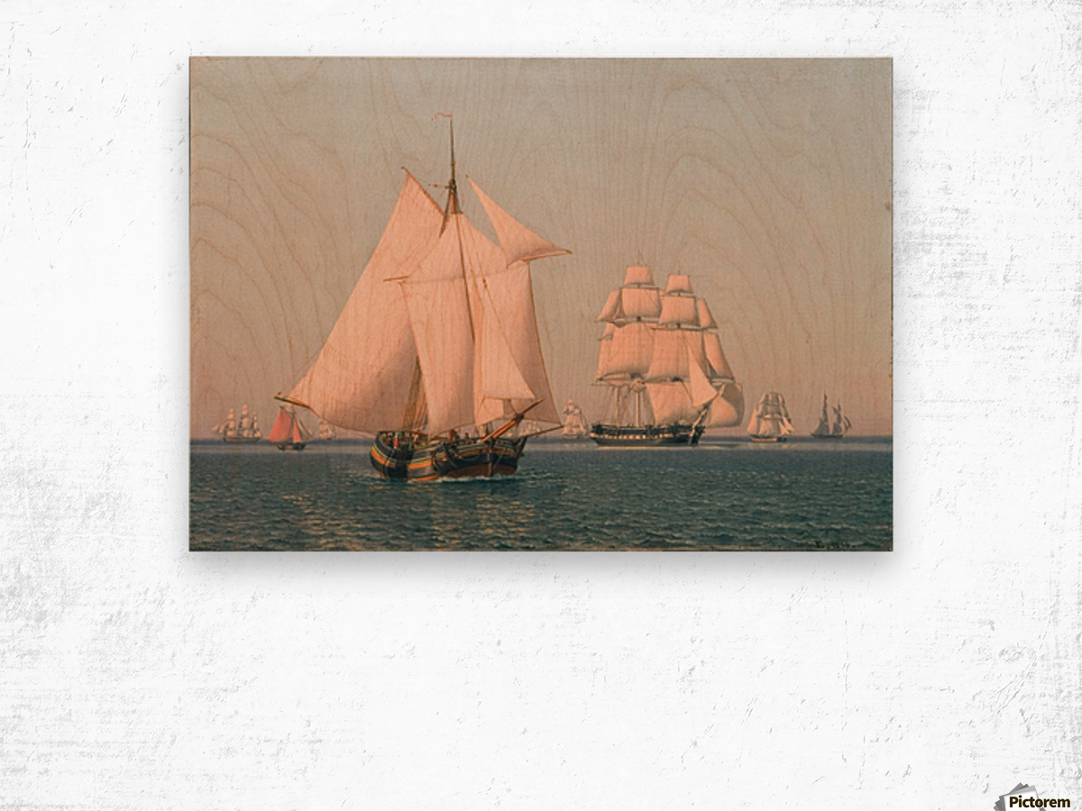 Ships under sail in mild breeze on clear summer afternoon Wood print