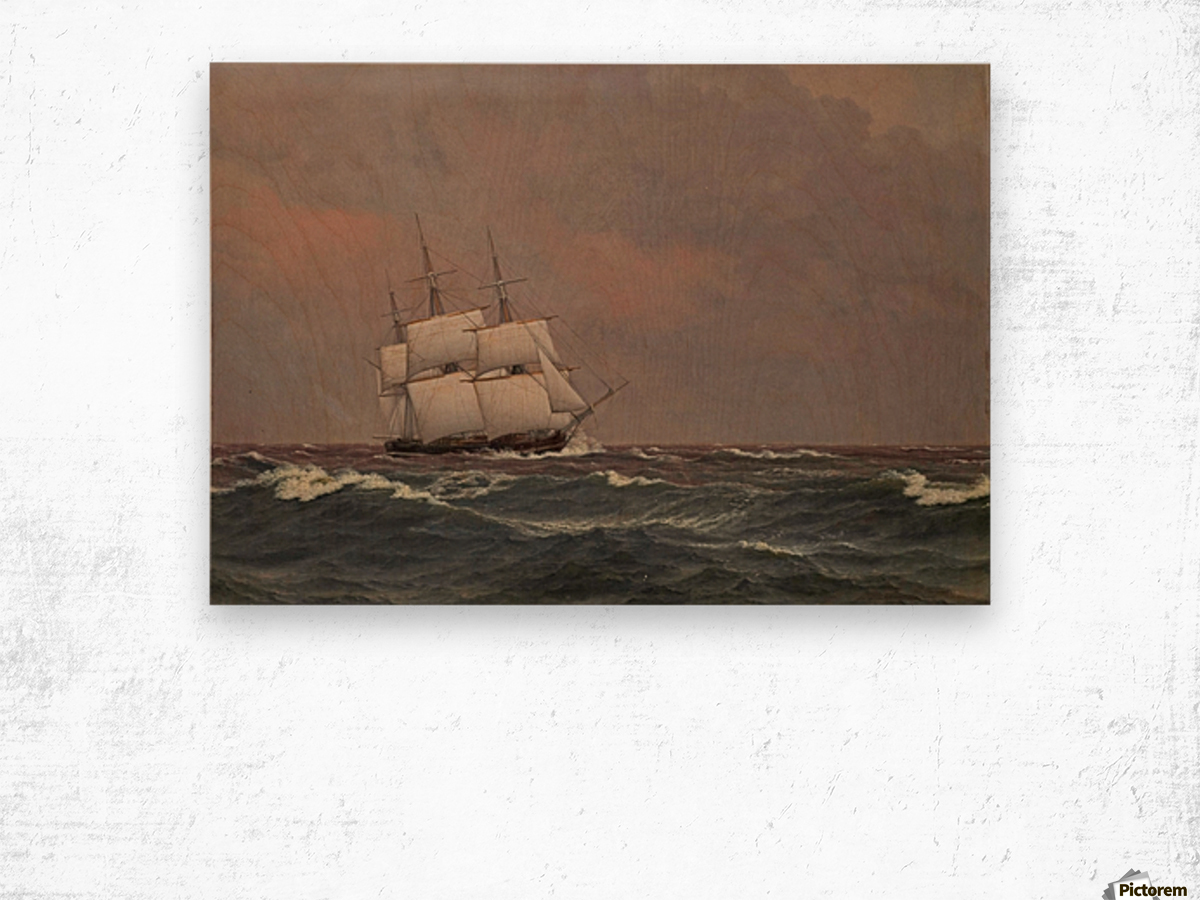 The corvette Najaden in rough seas Wood print