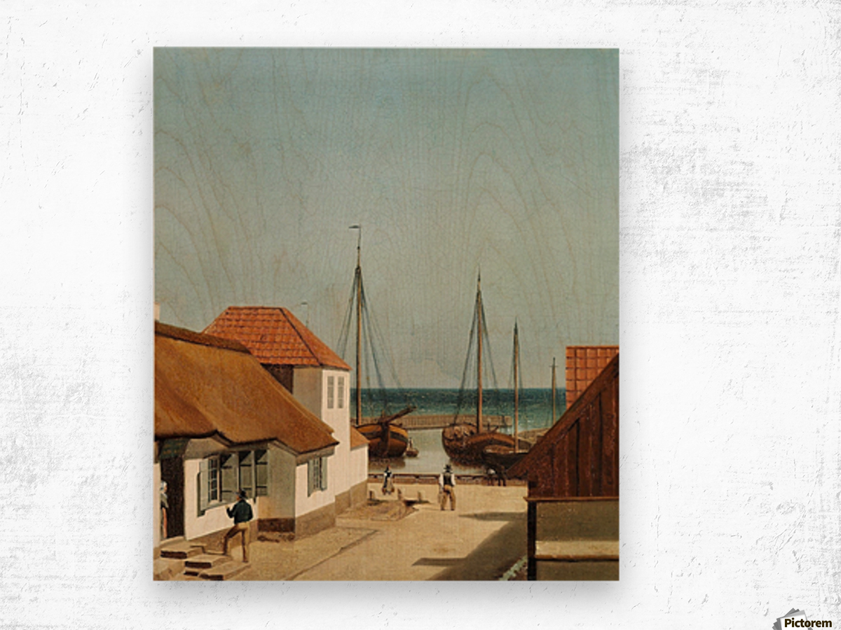 Boats leaving the port Wood print