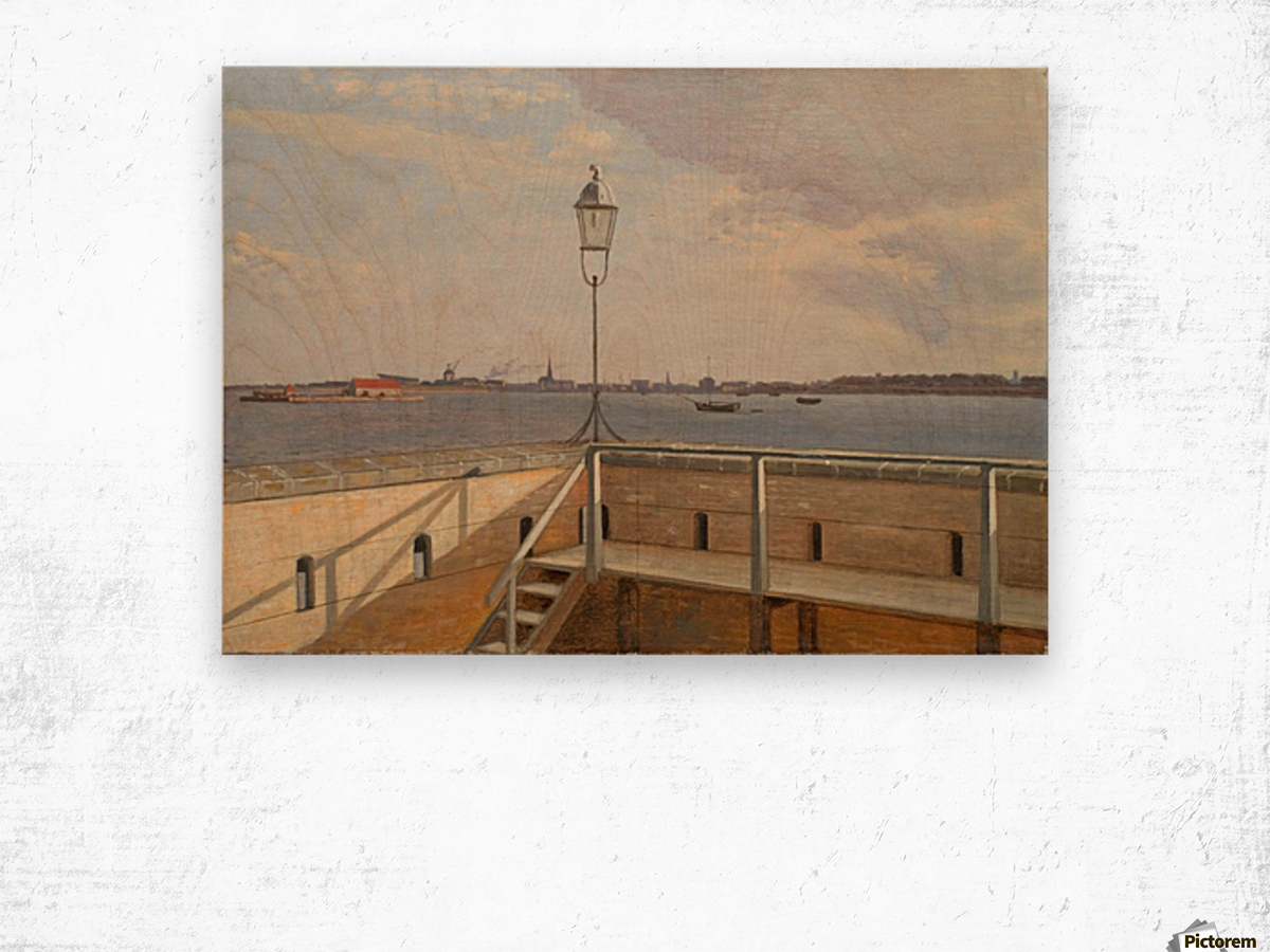 View from the Trekroner Battery with Copenhagen in the distance Wood print