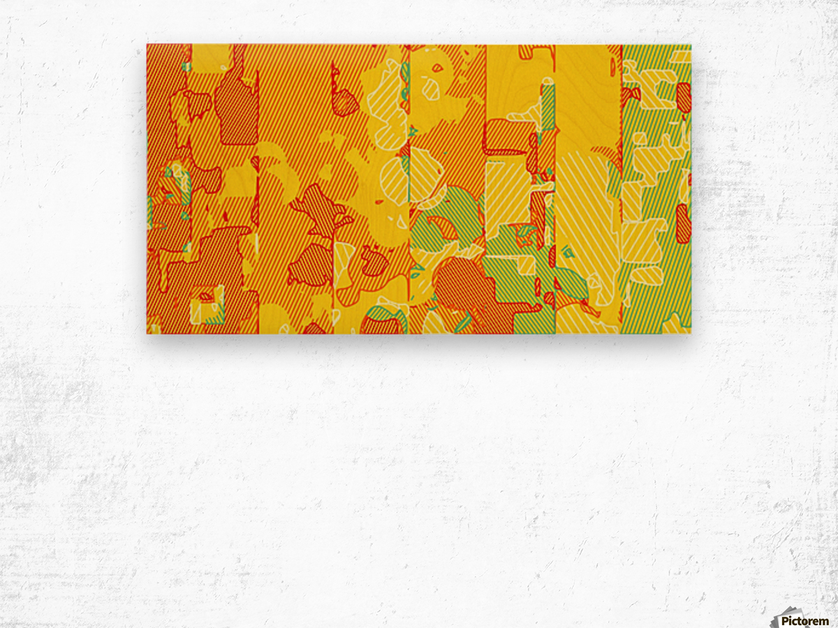 graffiti drawing abstract pattern in yellow brown and blue Wood print