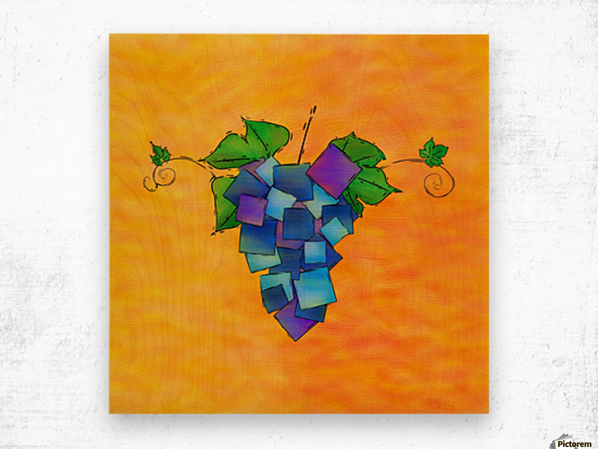 Jamurissa - square grapes Wood print