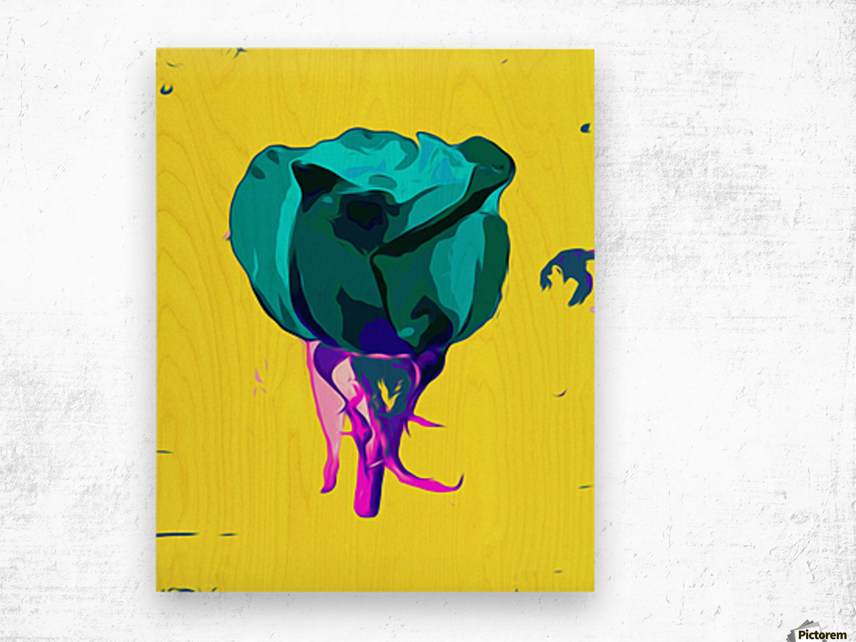 green rose with purple stem and yellow background Wood print
