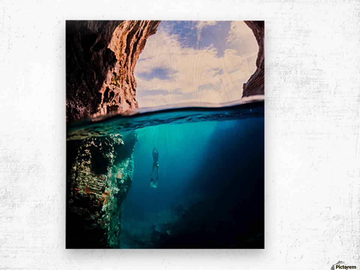 Cave diving vert Wood print