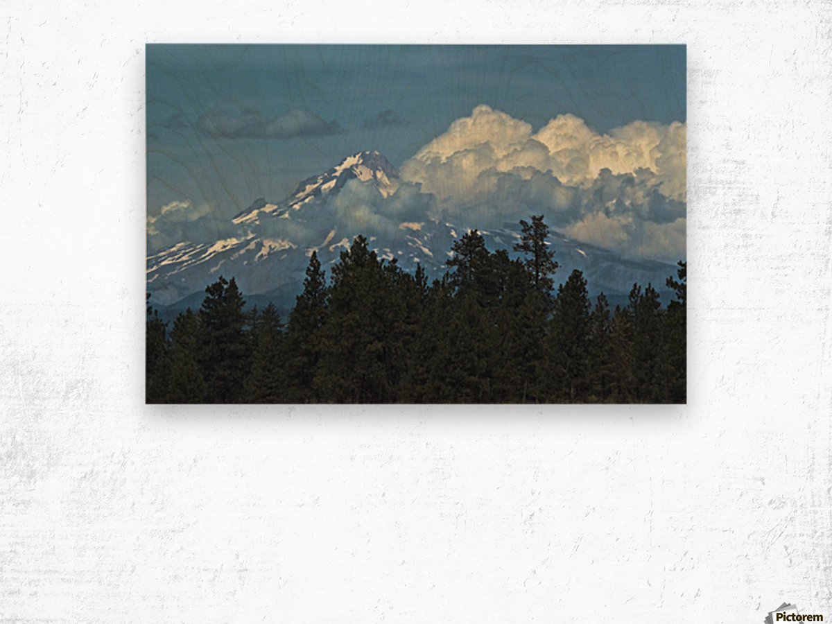 Mt Hood & Clouds Wood print