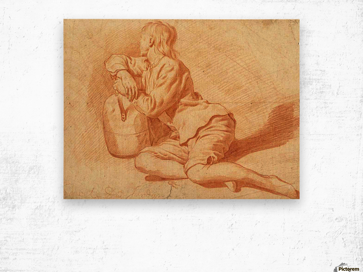 Study of a seated boy leaning on a flagon Wood print