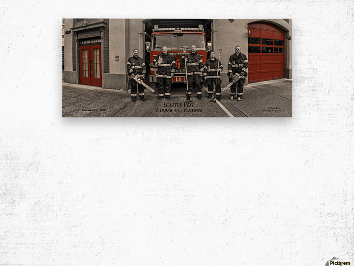 Seattle Fire Department Station 2, Ladder 4 C Colored Doors Wood print